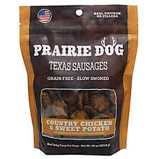 Prairie Dog Texas Sausages Dog Treat - Natural, Grain Free, Country Chicken & Sweet Potato
