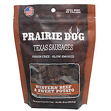 Prairie Dog Texas Sausages Dog Treat - Natural, Grain Free, Western Beef & Sweet Potato