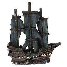 Top Fin® Dark Pirate Ship Aquarium Ornament