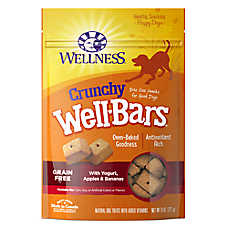 Wellness® WellBars Crunchy Dog Treat - Grain Free, Natural, Yogurt, Apples & Bananas