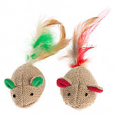 Pet Holiday™ Chalet Chic Burlap Mice 2-Pack Cat Toy