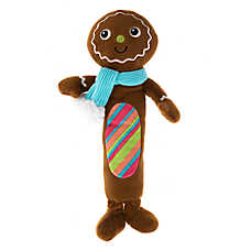 Pet Holiday™ Winter Gingerbread Man Long Body Dog Toy