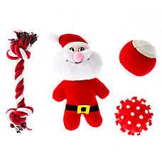 Pet Holiday™ Santa 4-Pack Dog Toys