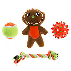 Pet Holiday™ Winter Gingerbread Man 4-Pack Dog Toy