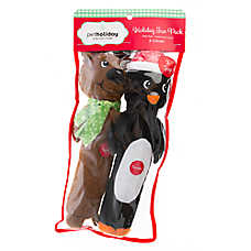 Pet Holiday™ Penguin and Reindeer Long Body 2-Pack Dog Toy