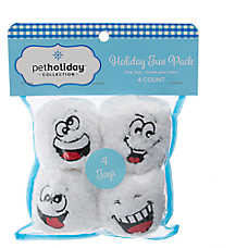 Pet Holiday™ Snowball Funny Face 4-Pack Dog Toy
