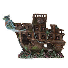 Top Fin® Bird Sunken Half Ship Aquarium Ornament