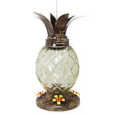Pinebush Pineapple Glass Hummingbird Feeder