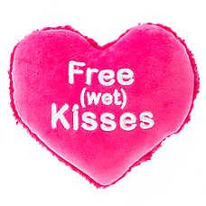 "Grreat Choice® Valentine's ""Free wet Kisses"" Heart Dog Toy"