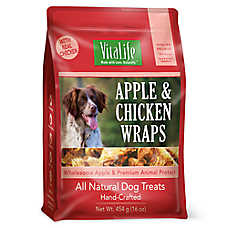 VitaLife Wraps Dog Treat - Natural, Grain Free, Apple & Chicken
