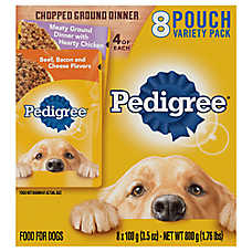 PEDIGREE® Adult Dog Food - Variety Pack, 8ct, Meaty Ground Dinner & Beef, Bacon & Cheese