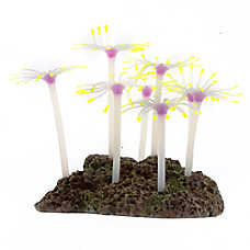 Top Fin® Glow-in-the-Dark Purple and Green Flower Aquarium Ornament