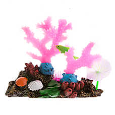 Top Fin® Glow-in-the-Dark Pink Coral with Fish Aquarium Ornament