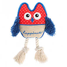 ED Ellen DeGeneres Owl Happiness Dog Toy - Plush, Rope, Squeaker