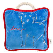ED Ellen DeGeneres Dog Love Pillow Dog Toy - Plush, Rope, Squeaker