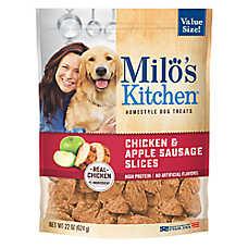 Milo's Kitchen® Dog Treat - Chicken & Apple Sausage Slices