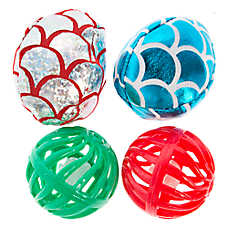 Whisker City® Plush & Plastic 4-Pack Balls Cat Toy