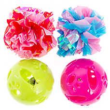 Whisker City® Crinkle & Plastic 4-pack Balls Cat Toy