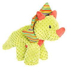 Top Paw® Flattie Dino Triceratops Dog Toy - Squeaker