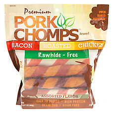 Pork Chomps Rawhide Free Twists Dog Treat - Assorted