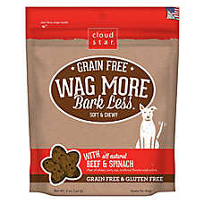 Cloud Star® Wag More Bark Less® Dog Treat - Natural, Grain & Gluten Free, Beef & Spinach