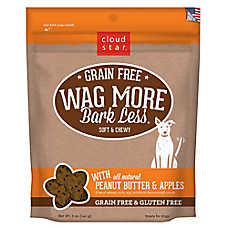 Cloud Star® Wag More Bark Less® Dog Treat - Natural, Grain & Gluten Free, Peanut Butter & Apples