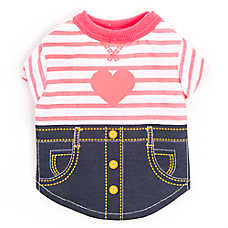 Top Paw® Back To School Heart Denim Dog Tee