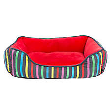 Top Paw® Rainbow Stripe Cuddler Pet Bed
