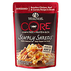 Wellness® CORE® Simply Shreds Dog Food Topper - Natural, Grain Free, Chicken, Beef & Carrots