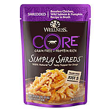 Wellness® CORE® Simply Shreds Dog Food Topper - Natural, Grain Free, Chicken, Salmon & Pumpkin