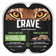Crave Adult Cat Food - Natural, Grain Free, Turkey & Duck Pate