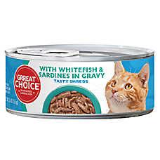 Grreat Choice® Tasty Shreds Cat Food - Whitefish & Sardines in Gravy