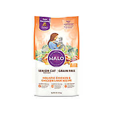 HALO® DreamCoat Senior Cat Food - Natural, Grain Free, Holistic Chicken & Chicken Liver Recipe