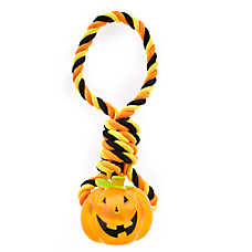 Thrills & Chills™ Halloween Rope Pumpkin Dog Toy - Plush, Rope, Squeaker