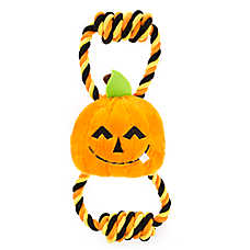 Thrills & Chills™ Halloween Double Rope Pumpkin Dog Toy - Plush, Rope
