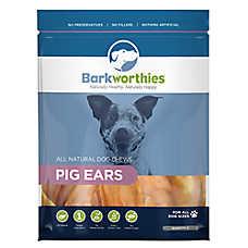 Barkworthies Pig Ears Dog Chews - Natural