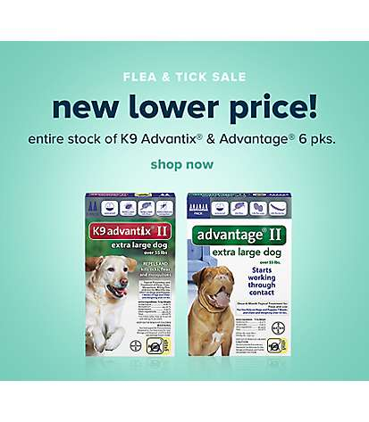 Flea & tick sale - buy 1, get 1 50% off entire stock of K9 Advantix & Advantage 6 pks. shop now