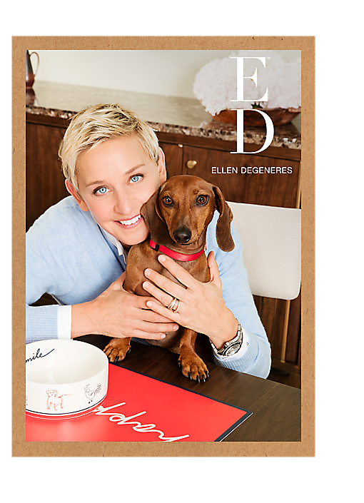 Ellen DeGeneres and a dog in a picture frame