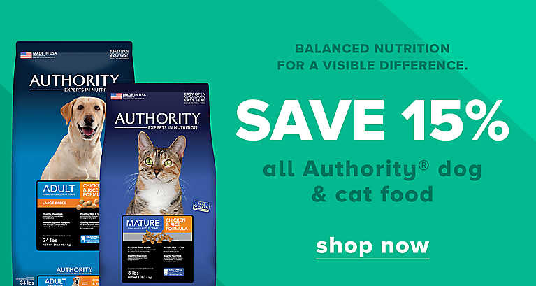 Save 15%  all Authority Dog & Cat Food