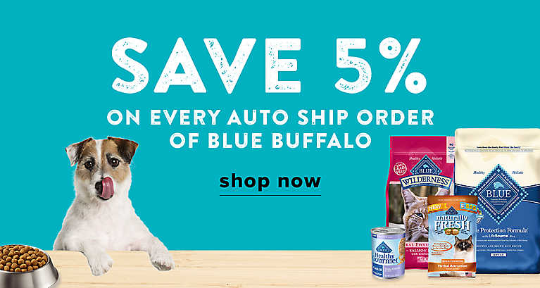 Save 5% on every auto ship order of Blue Buffalo