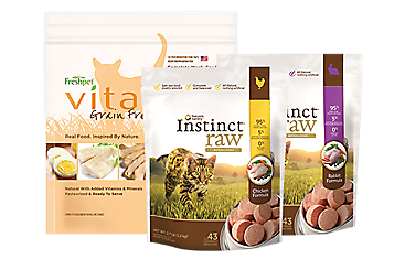 A bag of Freshpet Vital cat food, and 2 bags of Instinct Raw cat food