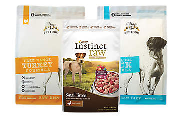 A bag of Instinct Raw dog food, and 2 bags of Mary's Pet Food