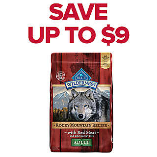 SAVE UP TO $9 Blue Buffalo dog food, 22-24 lb. bags
