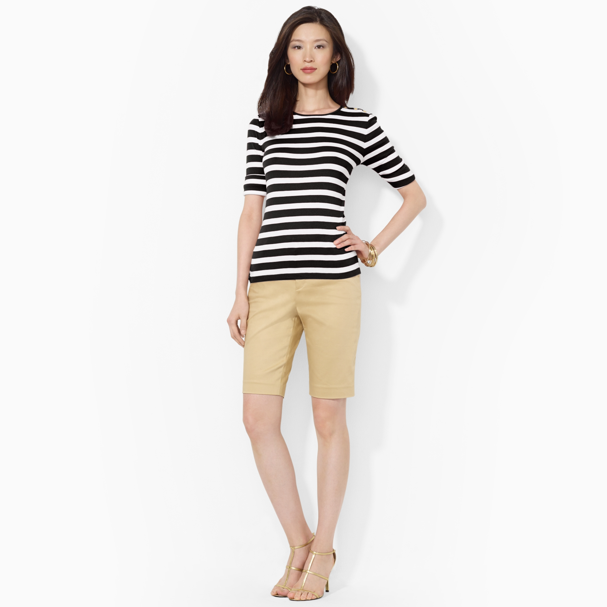 image of ralph lauren striped shirt and bermuda shorts