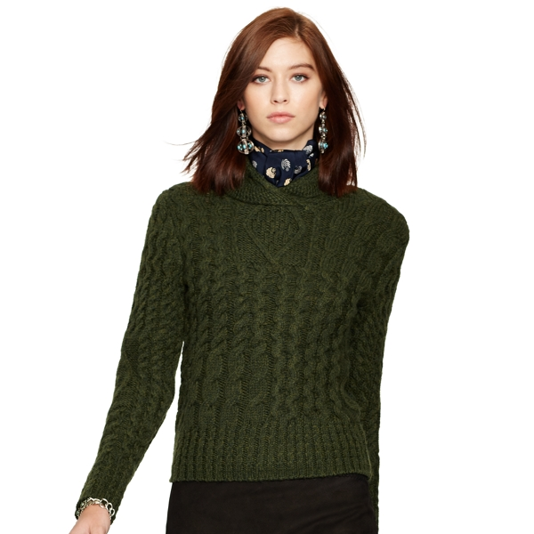 Wool-Alpaca Cabled Sweater