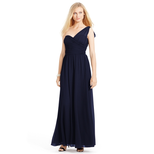 Ralph Lauren One-Shoulder Georgette Gown (Multiple Colors)
