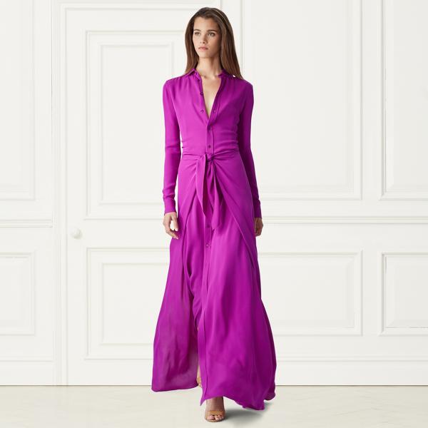 Alaina Silk Long Shirtdress