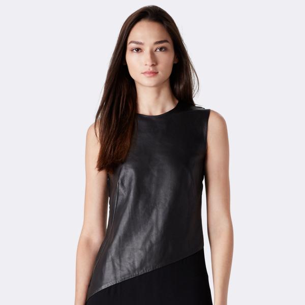 Cassandra Leather-Silk Top