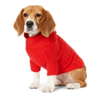 Ralph Lauren Personalized Cable Cashmere Dog Sweater (Red)