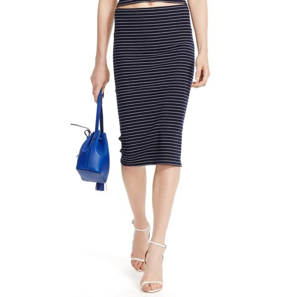 Striped Cotton Pencil Skirt